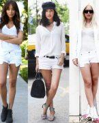 İlkbahar Yaz Modası: Beyaz Jeans (Kot) Şort Kombinleri