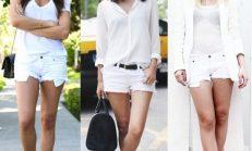Beyaz ve kısa şortlar moda