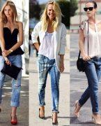 Boyfriend Jeans Kot Pantolon Kombinleri