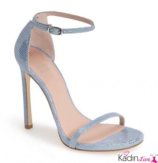 Yüksek Topuklu Parlak Mavi Gelin Ayakkabısı