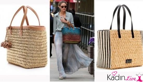 Sokak Modası Hasır Çanta Kombinleri