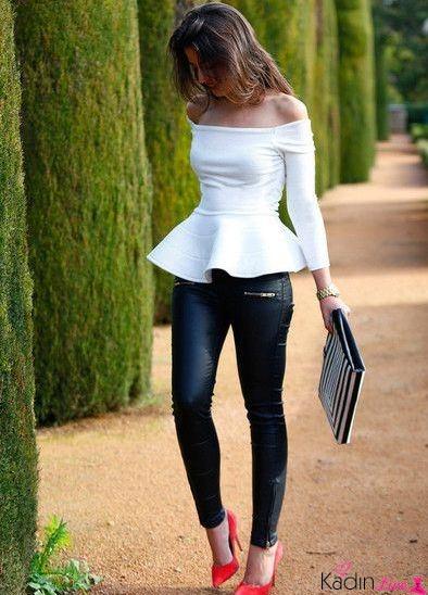 Beyaz Peplum Kayık Yaka Bluz Modelleri ve Kombinleri