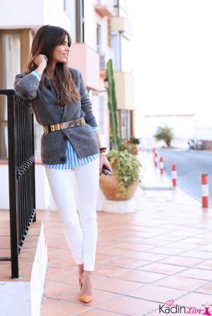 Kısa Hırka Ceket Sokak Stili Kemer Kombinleri
