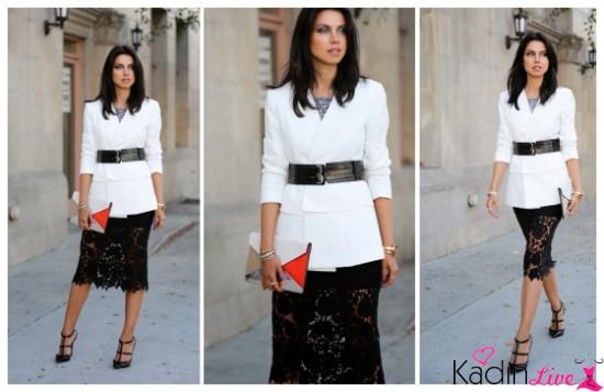 Beyaz Ceket, Danteli Etek, Kemer Kombinleri