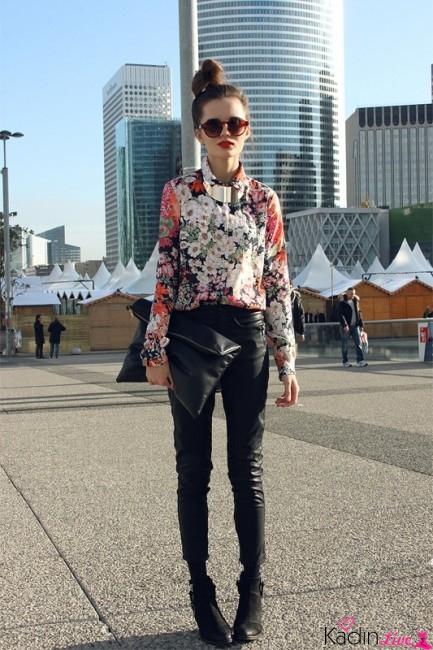 Siyah Deri Pantolon, Çiçekli Gömlek Kombinleri