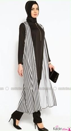 Dikey Düz Çizgili Elbise Modeli Trendy