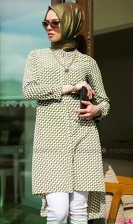 Çizgili Şık Tesettür Elbise Enjoy Model