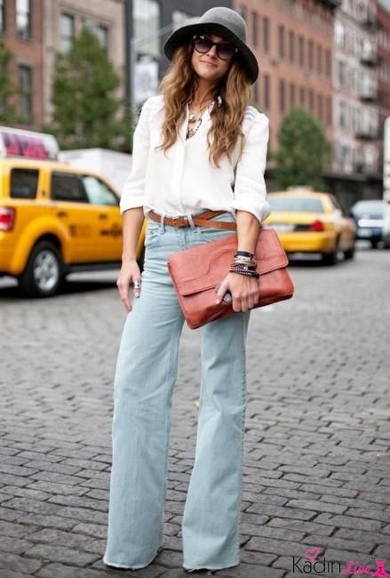 Beyaz Gömlek, Bol Paça Kot Pantolon Kombinleri