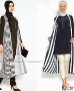 Çizgili tesettür 2015 elbise modası