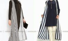 2018-2019 İlkbahar Yaz Modası: Çizgili Tesettür Elbise Kombinleri