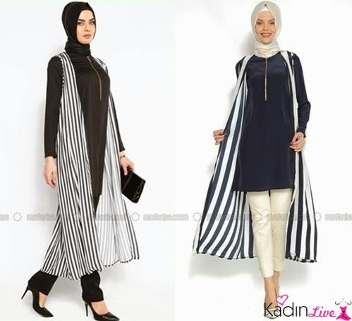 2019 Tesettür modasının trendi: Çizgili tunikler