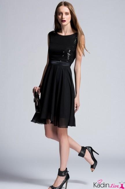 Adil Işık adL Siyah Üstü Payetli Abiye Gece Elbisesi Modelleri