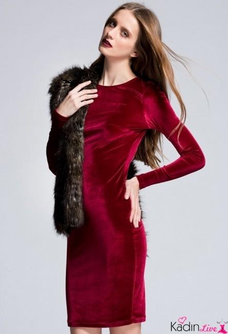 Adil Işık adL Bordo Kadife Uzun Kollu Abiye Elbise Modelleri