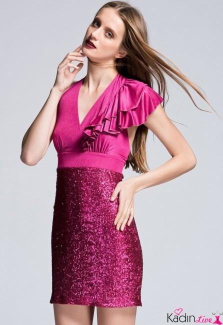 Adil Işık adL Pembe Payetli Kısa Abiye Elbise Modelleri