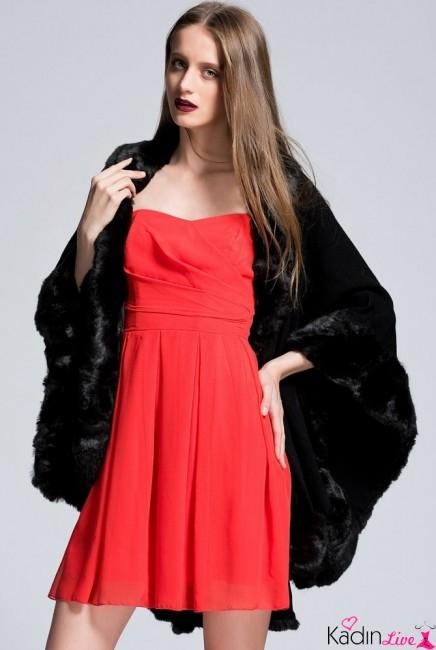 Adil Işık adL Kırmızı Fırfırlı Kısa Abiye Elbise Modelleri
