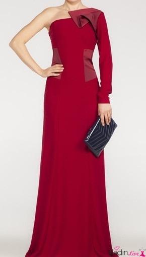 Adil Işık adL Şarap Rengi Uzun Kollu Abiye Gece Elbiseleri