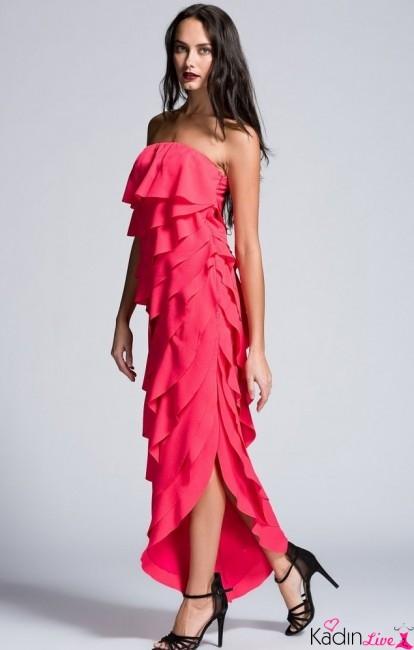 Adil Işık adL Pembe Kat Kat Fırfırlı Abiye Elbise Modelleri
