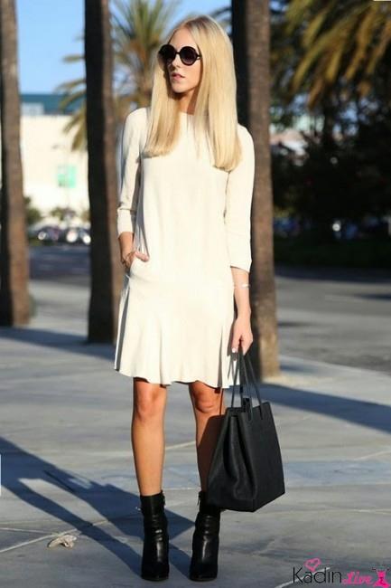 Beyaz Kısa Elbise Sokak Kombinleri