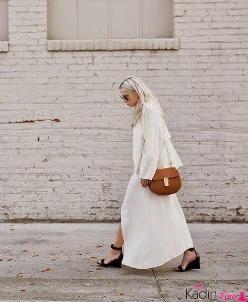Beyaz Uzun Elbise, Chloe Drew Çanta Kombinleri
