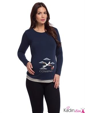 LCWaikiki Lacivert Kollu Hamile Bluz Modelleri