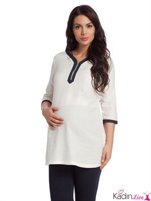 LCWaikiki Beyaz Yarım Kollu Hamile Gömlek Modelleri