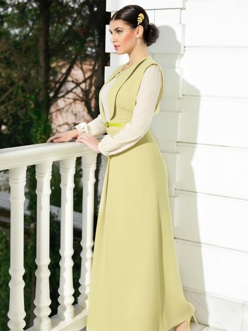 Puane Açık Sarı Rengi Tesettür Elbise Modelleri