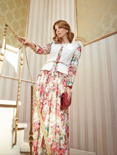 Puane Uzun Çiçekli Tesettür Elbise Modelleri