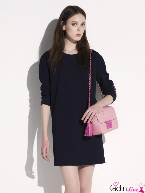 Lacivert Uzun Kollu Yazlık Kısa Elbise Modelleri
