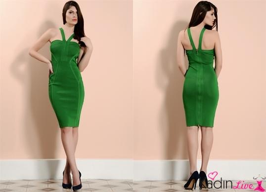 Fıstık Yeşili adL Cengiz Abazoğlu Elbise Modelleri