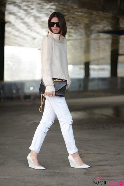 Sonbahar Kış Trendleri: Yırtık Beyaz Kot Pantolonlar