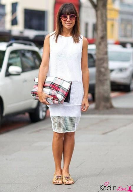 Beyaz Delikli Elbise Kombinleri