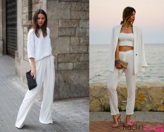 Beyaz Pantolon, Bluz, Kısa Üst Kombinleri