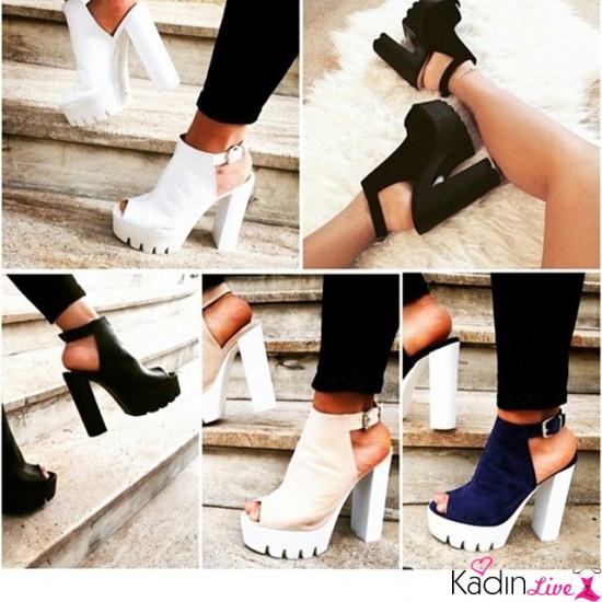 Siyah, Beyaz Glamour Platform Ayakkabılar