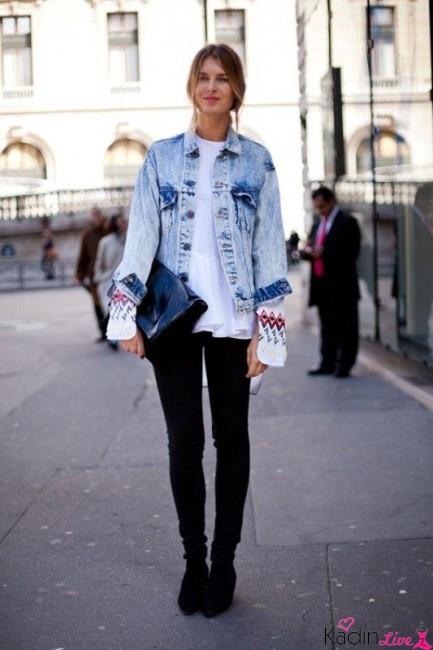 Siyah Pantolon, Beyaz Tişört, Kot Ceket Kombinleri