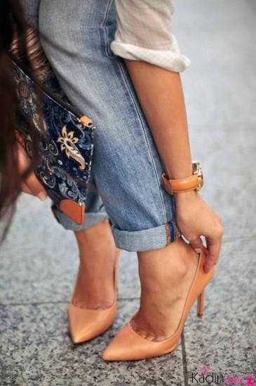 Ten Rengi Yüksek Topuklu Stiletto Ayakkabı Kombinleri