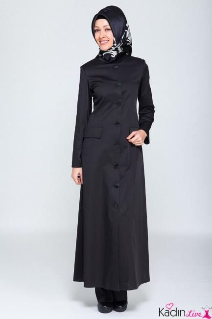 Tekbir Giyim Siyah Cepli Yazlık Tesettür Pardesü Modelleri
