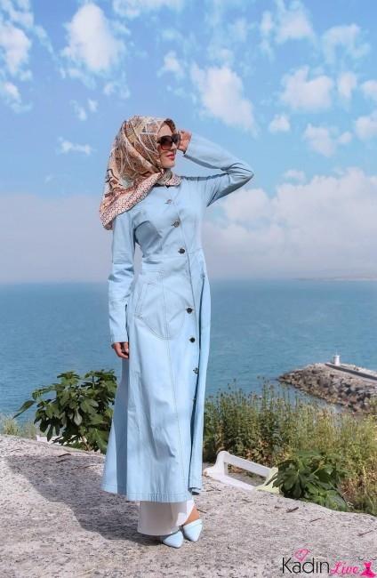 Tekbir Giyim Bebek Mavisi Yazlık Tesettür Pardesü Modelleri