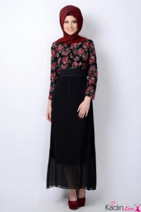 Tozlu Çiçekli Siyah Tesettür Elbise Modelleri
