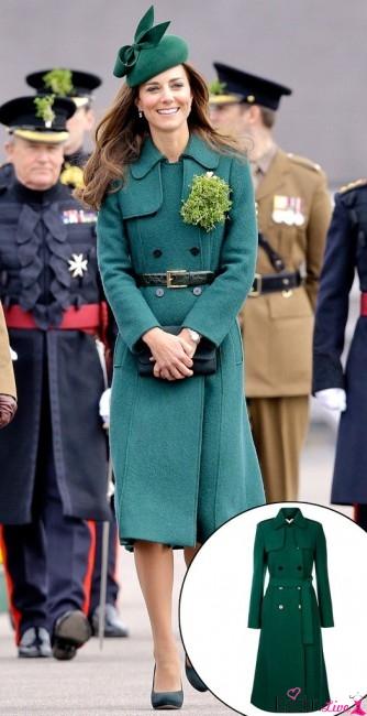 Kate Middleton Koyu Yeşil Beli Kemerli Trençkot Kombinleri