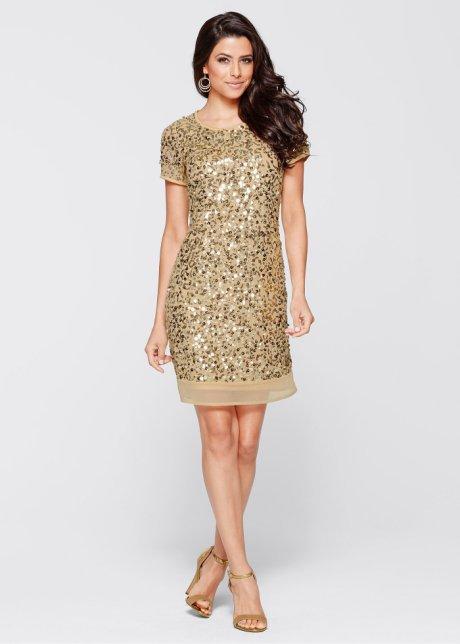 Renkli Payetli Elbise Altın Renkli Payet Süslemeli