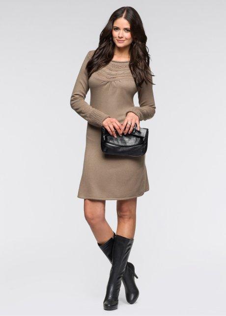 Kol detaylı örgü elbise modeli