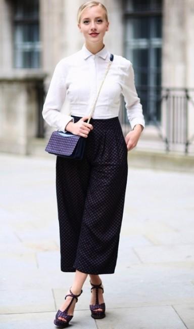 Beyaz gömlek bol pantolon kombini