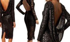 Sırt dekolteli şık elbise modelleri