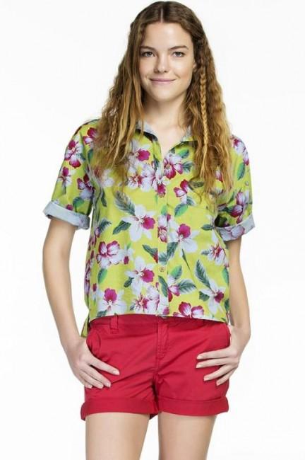 Mudo elma yeşili çiçek desenli gömlek modeli