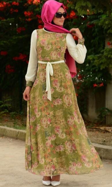 Sefamerve boydan çiçek desenli elbise modelleri