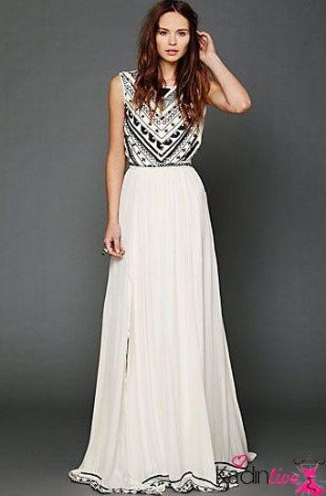 f58950a11b4c9 Siyah Beyaz Desenli Taş İşlemeli Uzun Düğün Elbisesi Modelleri ...