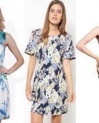 Tropikal desenli elbise ve etek modelleri