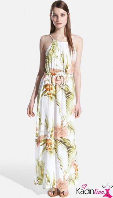 Tropikal ince askılı uzun elbise modelleri