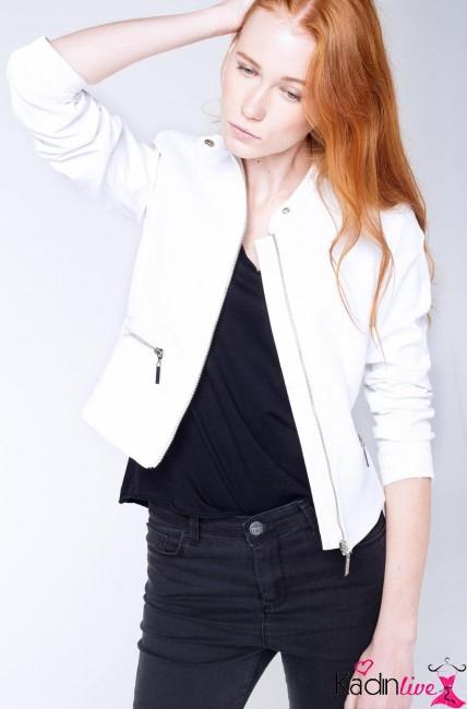 Defacto Kadın Beyaz Suni Deri Ceket Modelleri