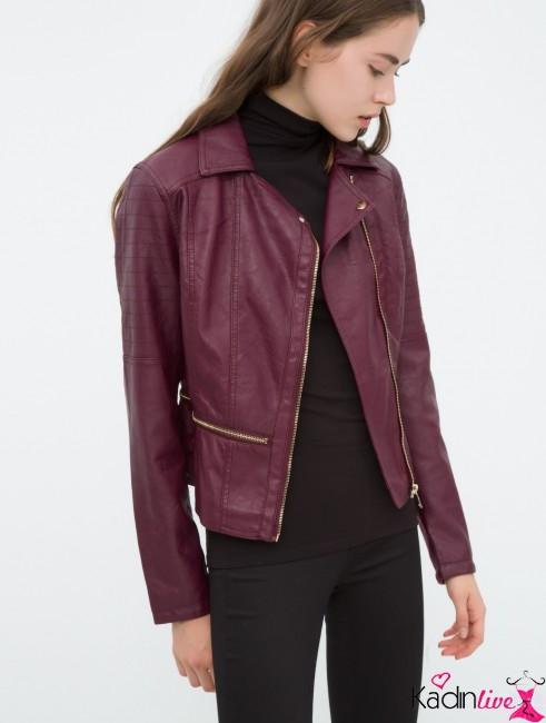 Yeni Sezon Koton Kadın Şarap Rengi Deri Ceket Modelleri